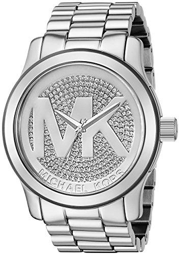 Michael Kors Runway MK Relógio feminino com mostrador prateado - MK5544