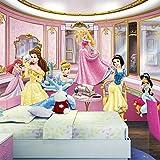 YIERLIFE 3D Tela no tejida Mural de papel pintado Pared - Hermosa habitación de niña princesa - Fotomural para Pared Fondo Fotomural para Paredes Decoración comedores, Salones, Habitaciones
