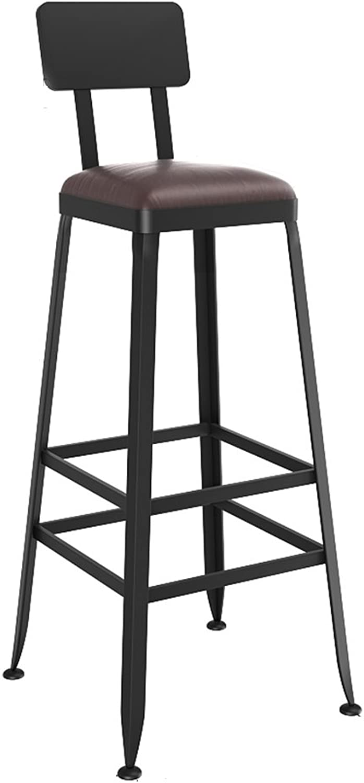 Llsdls Bar Stool,Vintage Leather Wrought Iron Bar Modern Minimalist Chair High Stool (height17.733.4inches) (Size   40cm45cm)