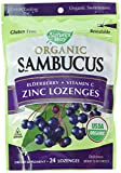 Nature's Way Organic Sambucus Lozenge, Elderberry and Zinc, 24 Lozenges (Packaging May Vary), Pack of 2