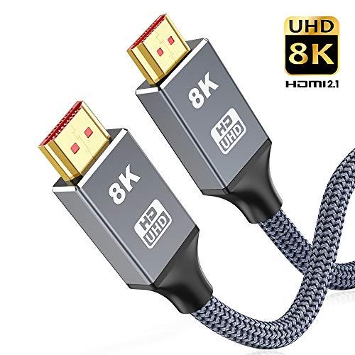 8K HDMI Kabel 2M,Snowkids HDMI 2.1 8K@60Hz,4K@120Hz Ultra High Speed 48 Gbps für ruckelfreies,vergoldete Kontakte, Knickschutz Nylon-Mantel,Alu Stecker kompatibel zu Blu RayPS4