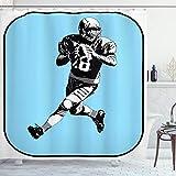 ABAKUHAUS Sport Duschvorhang, American Football Retro, mit 12 Ringe Set Wasserdicht Stielvoll Modern Farbfest & Schimmel Resistent, 175x180 cm, Weiß Schwarz Blau