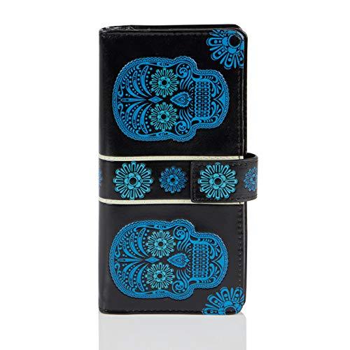 Shagwear Shagwear Portemonnaie Geldbörse für Junge Damen, Mädchen Geldbeutel Portmonaise groß Designs:, Totenkopf Schwarz/ Skull, Large