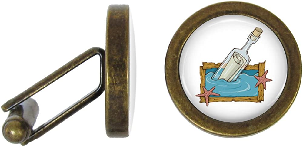 Message in a Bottle Cufflinks S.O.S Cuff Links (Angled Edition)