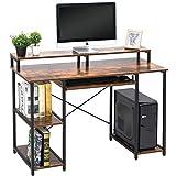 TOPSKY コンパクトコンピューターデスク 収納棚/キーボードトレイ/モニタースタンド 勉強テーブル ホームオフィス用 46.5*19 inch