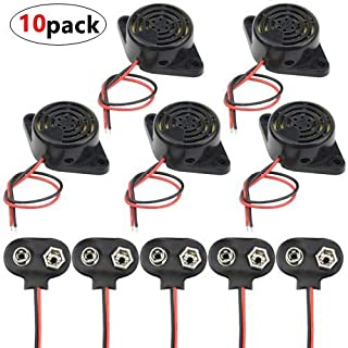 WMYCONGCONG 10 PCS DC 3-24V Electronic Buzzer Alarm Sounder Continuous Beep and 9V Battery Clip Connector Kit
