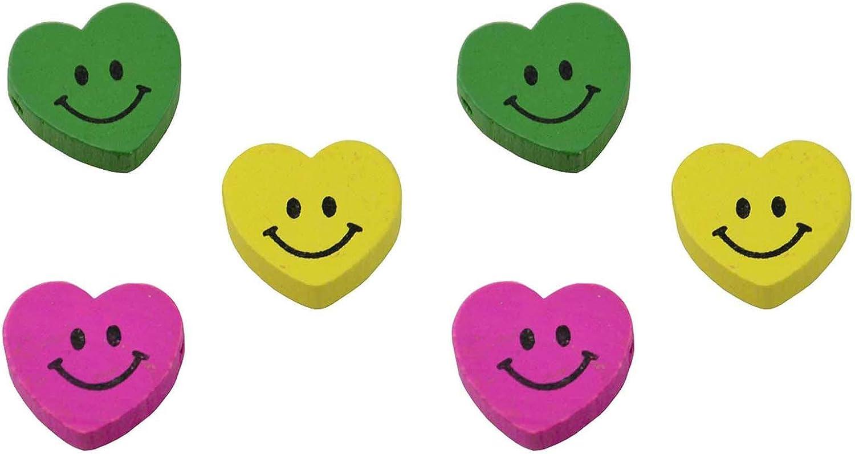 Lot de 25 perles en bois Farbeées Farbeées Farbeées en forme de cœur, avec smiley (8–192) B004WKK7XO   Eleganter Stil  d3571f