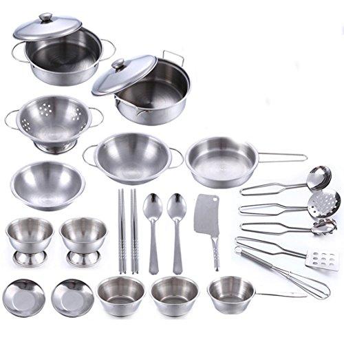 Winni43Julian Kochgeschirr Kinder Metall, 25 Stück Kinderküche Zubehör Set, Spielküche Zubehör Töpfe, Topf Spielzeug, Küchenspielzeug, Topfset Kinderküche, Kinder Kochtopfset