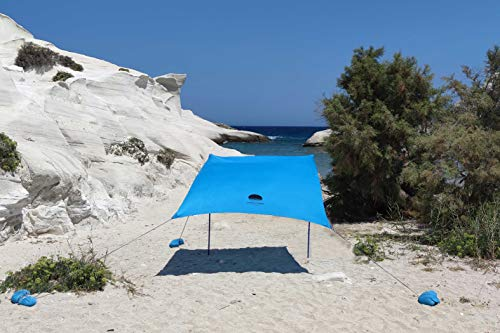 SHADYSAND - Large Family Beach Tent Anti-UV (UPF 50+) Up to 5 Persons, Compact Lightweight and Practical Beach Shelter, Sun Shelter for Baby, Children and Adults, Comes in a Hand Suitcase