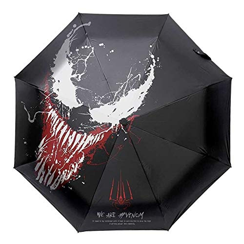 SJZS Regenschirm Marvel Venom Wind Resistant Folding Manuelle Umbrella Regen Iron Man Deadpool Frauen Auto Regenschirme Regen for Männer UV-Schutz (Color : 1)