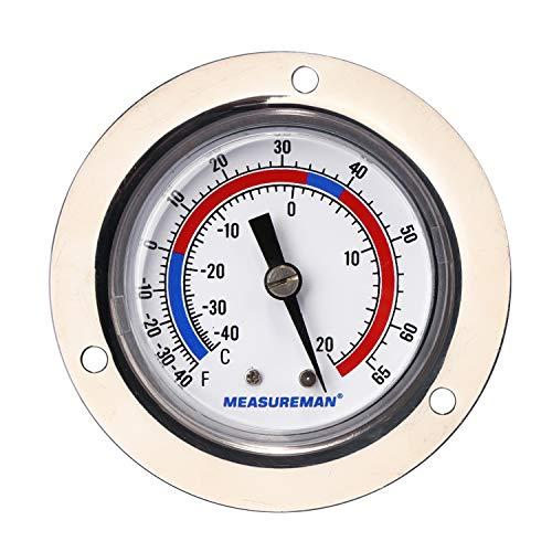 Measureman Vapor Capillary Flanged Panel Mount Refrigeration Thermometer, 2