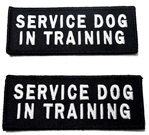 Leashboss Service Dog in Training Patches for Vest - Embroidered 2 Pack - Hook and Loop Both Sides - 3 Sizes (Service Dog in Training, Medium - 1.5 x 4 Inch)