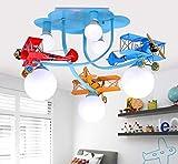 GaLon Plafonnier for enfants, modèle d'avion, lampe de plafond for enfants en bois bleu, garçon, oeil LED, avion, lampe de chambre à coucher for étude de bande dessinée, plafonnier tournant à 360 °, 1