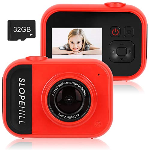 slopehill Kids Camera - 8MP Kid Digital Camera Gifts for Age 3-12 Years Old Boys Girls Toddler, 1080P High-Resolution LCD Screen Video Camcorder, USB Rechargeable Selfie Camera with 32GB SD Card (Red)