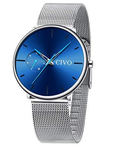CIVO Relojes Hombre Reloj Ultra Fino Acero Inoxidable Plata Elegante Deportivo Impermeable Malla Relojes de Pulsera Analogicos Fecha