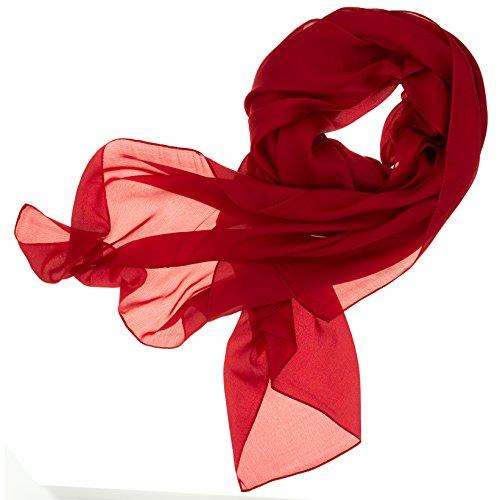 DOLCE ABBRACCIO by RiemTEX ® Schal Damen LADY SUNSHINE Seidentuch Tücher mit hohem Seidenanteil Pashmina Stola Tuch im satten Rot Halstuch Kopftuch Damen Seidenschal Elegante Schals (Rubinrot)