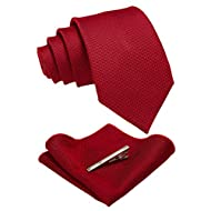 JEMYGINS Solid Color Wool Tie and Pocket Square with Tie Clip Sets for Men