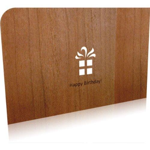 Holz-Grußkarte 'Happy Birthday'