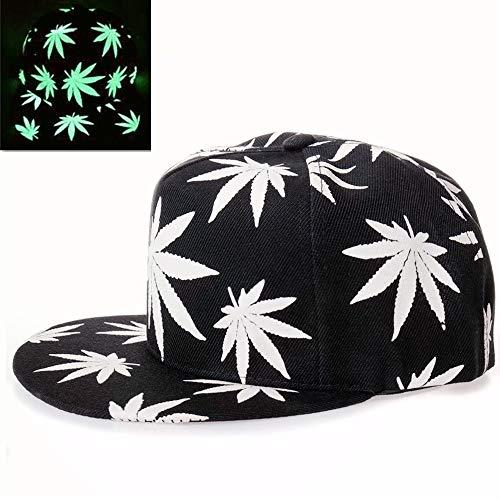 Baseballkappe, Solid Flat Bill Einstellbare Snapback leuchtende Hüte, Nachtlicht, Schwarzlicht, Baseballkappe, Unisex, Weed Leaf