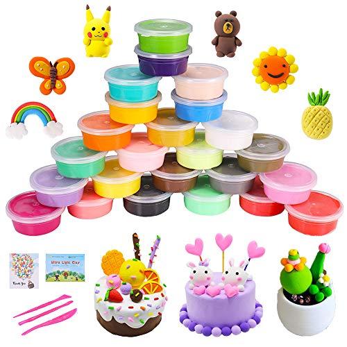 QMAY 24 Colores Air Dry Clay, Arcilla de Modelado Ultraligero, Magic Clay Artist Studio Toy, Arcilla y Masa de Modelado no tóxico, Arte Creativo DIY Crafts, Regalo para niños ...