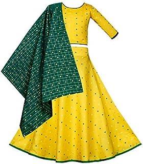 Hopscotch Traditional Jacquard Silk Lehenga Choli with Duppatta for Girls
