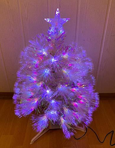 Oramics 60cm Mini Weihnachtsbaum mit LED Beleuchtung - Künstlicher Kleiner Tannenbaum mit 3-Bein Ständer X Mas Weihnachten - Stern als Baumspitze für Zuhause, Schule, Arbeit und Büro (Weiß)