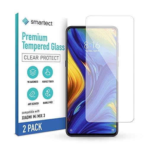smartect Cristal Templado para Móvil Xiaomi Mi Mix 3 [2 Unidades] - Protector de pantalla 9H - Diseño ultrafino - Instalación sin burbujas - Anti-huella