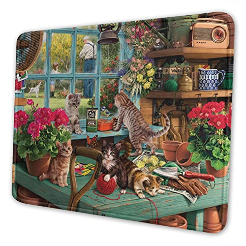 Garmnt Window Cats Mouse Pad Non-Slip Rubber Gaming Mouse Pad Square Laptop Waterproof Mouse Pad,Size 10 X 12 Inches