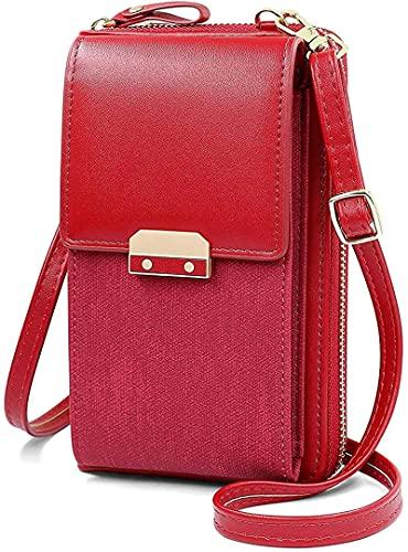 Bolso bandolera para mujer de piel sintética, con cremallera, gran capacidad, con tarjetero, rojo (Rojo) - xqkj-IHWAMJ-4