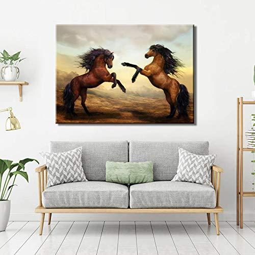 hetingyue Pintura Moderna en Lienzo Animal Wall Art HD Poster e Imprimir Dos Caballos Imagen decoración de la Pared Pintura sin Marco 80X120CM