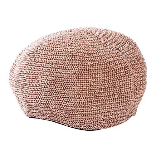 HRS Primavera Verano Mujer Boinas de Punto Señoras Gorra Plana sólida Moda Crochet Gorras francesas Estrellas Painter-Pink, Talla única
