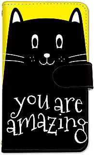 seventwo Xperia Z4 SO-03G SOV31 402SO スマホケース 手帳型 携帯ケース スマホカバー ミラー付 SONY ソニー エクスペリア ゼットフォー 【H.イエロー】 黒猫 ねこ 動物 animal_071