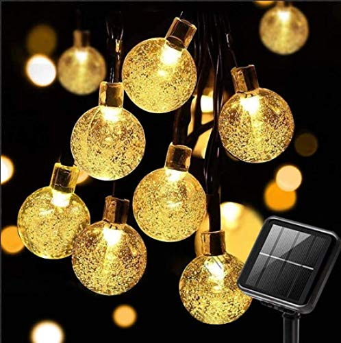 SUWITU Solar String Lights, 22Ft 40 LED Waterproof Outdoor Garden Lights Solar/USB Powered Crystal Ball Decorative Fairy Lights for Home, Garden, Patio, Wedding Party Festival Decoration, White White