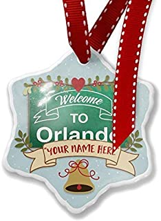 TIFA-LOVE Christmas Ornament Customize Your Name Green Sign Welcome to Orlando Christmas Ornament