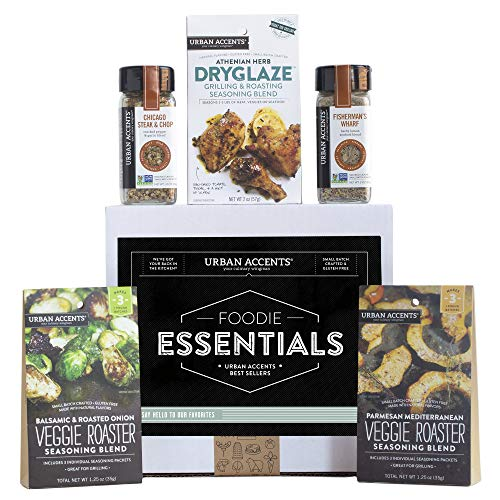 Urban Accents FOODIE ESSENTIALS Seasoning Spices Gift Set (Set of 5) Gourmet Salt Gift Set of Grill Seasonings, Spices, Rubs and Dryglaze for Meats, Veggies and More- Perfect Gift for Any Occasion