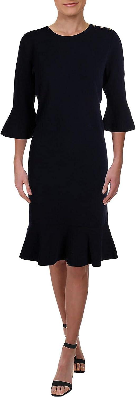 Ralph Lauren Womens Solid Ruffled Dress