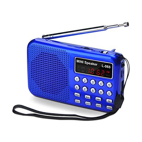 Songway tragbar Radio Klein FM Kurzwellenempfänger MP3 Musik Player, unterstützt Mikro USB TF Karte, Aufnahmefunktion, Notfall-Taschenlampe, Externe Antenne und Chargeable Batterie (Blue)