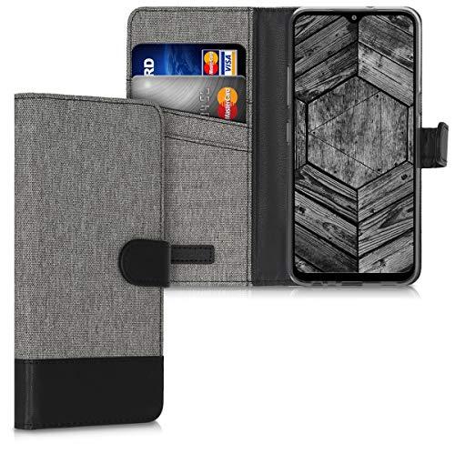 kwmobile Hülle kompatibel mit LG K41S - Kunstleder Wallet Case mit Kartenfächern Stand in Grau Schwarz
