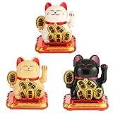 QIANMA Gato Suerte 3pcs / Set Lucky Cat Riqueza Agitando La Mano Temblorosa Fortuna Bienvenida Gato Linda Figuras Miniaturas Hogar Decoración Craft Art Shop Hotel Decoración