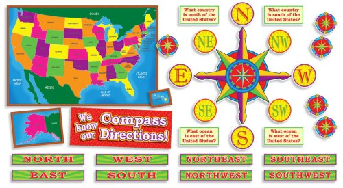 Us Map With Compass Points U.S. Map and Compass Directions! Bulletin Board (Poster)  Buy