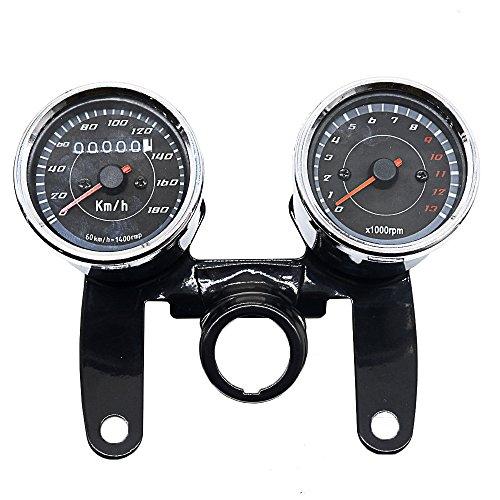 IQQI Two-In-One-Motorrad-Entfernungsmesser, Tachometer, Kilometer, 12V Universal-LED Retro Instrument
