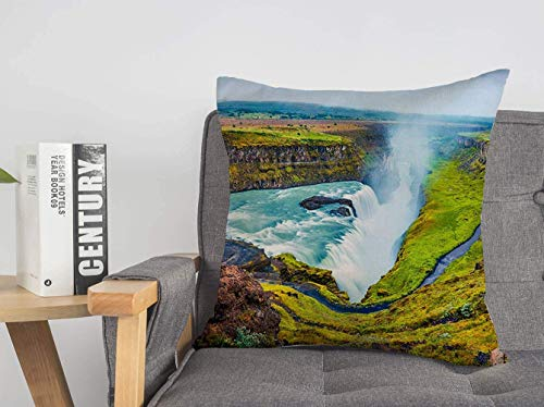 LREFON 18' 2pcs Square Throw Pillowslip Glow Huge Artistic Waterfall Wonderful Flowing Gullfoss Morning Mist Colorful Nature Parks Soft Skin-Friendly Pillowcase for Couch Sofa