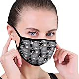 NA Männer und Frauen Mund Gesichtsmaske zum Laufen Radfahren Spukhaus Geister Muster grau Klein