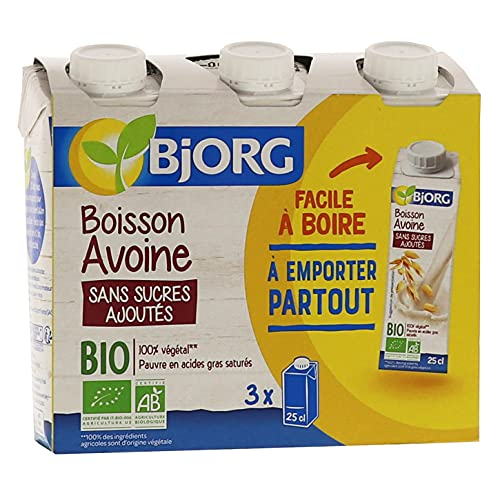 Bjorg Boisson Avoine Sans Sucres ajoutés - Boisson végétale Bio – Format à emporter partout - 3 x 25 cl