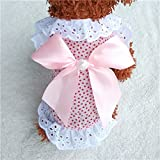 WALNUTA Cute Pet Chihuahua Princess Dress Lace Small Dog Party Dress Apparel SCat Puppy Dogs Clothes Yorkie Costume in Spring Summer (Color : Pink, Size : S)