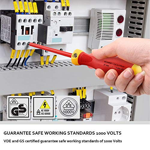 Insulated Screwdriver Set, KUNTICA 1000V VDE Insulated Electrician Screwdriver, Magnetic 4 Slotted and 3 Phillips Head Tips Screwdriver Non-Slip, 9 Piece