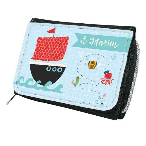 wolga-kreativ Kindergeldbörse Geldbörse Geldbeutel Portemonnaie mit Namen Piratenschiff für Mädchen Junge-n personalisiert für Kinder klein Geschenk Geburtstag Einschulung Schultüte Füllung