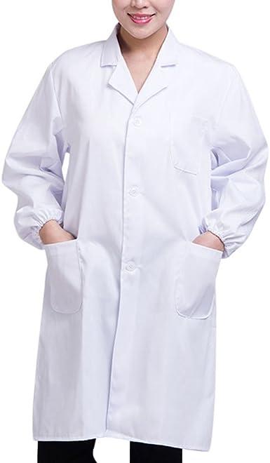 Brawdress Unisex Bata de Médico Laboratorio Enfermera Sanitaria Algodón, Mujer Hombre Camisa de Trabajo Blanca de Manga Larga S-3XL