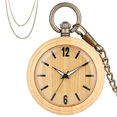 XVCHQIN Reloj de Bolsillo de Cuarzo de Madera de bambú Retro Minimalista, números árabes, Esfera Redonda, Elegante, Completo, de Madera, Exquisito Colgante, Collar, Reloj, Madera
