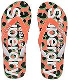 Superdry AOP, Chanclas para Mujer, Multicolore Fluro Coral Animal Sp3, Medium